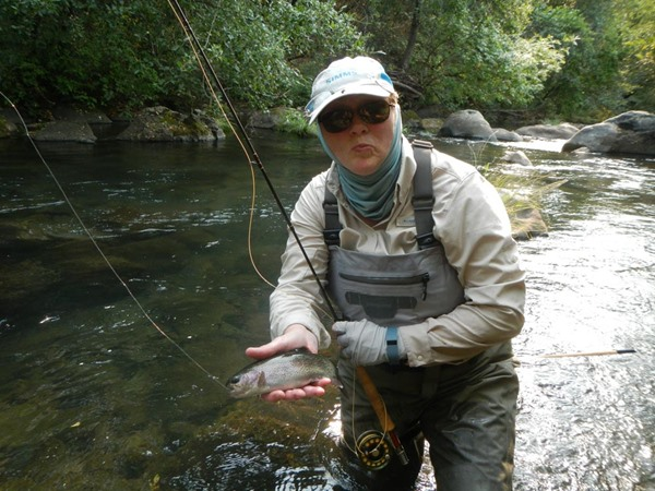 Cheryl with one of many fish caught on dries today