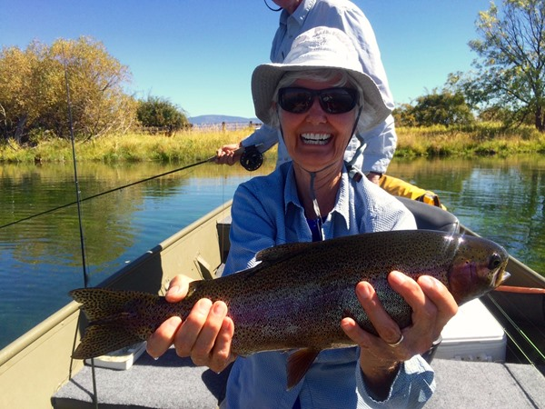 Lucy with a great Fall River rainbow