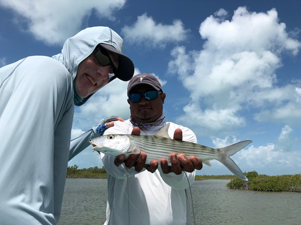 One of the larger bonefish landed by our group