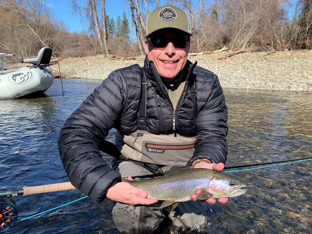 Steve with his very first steelhead on the swing!