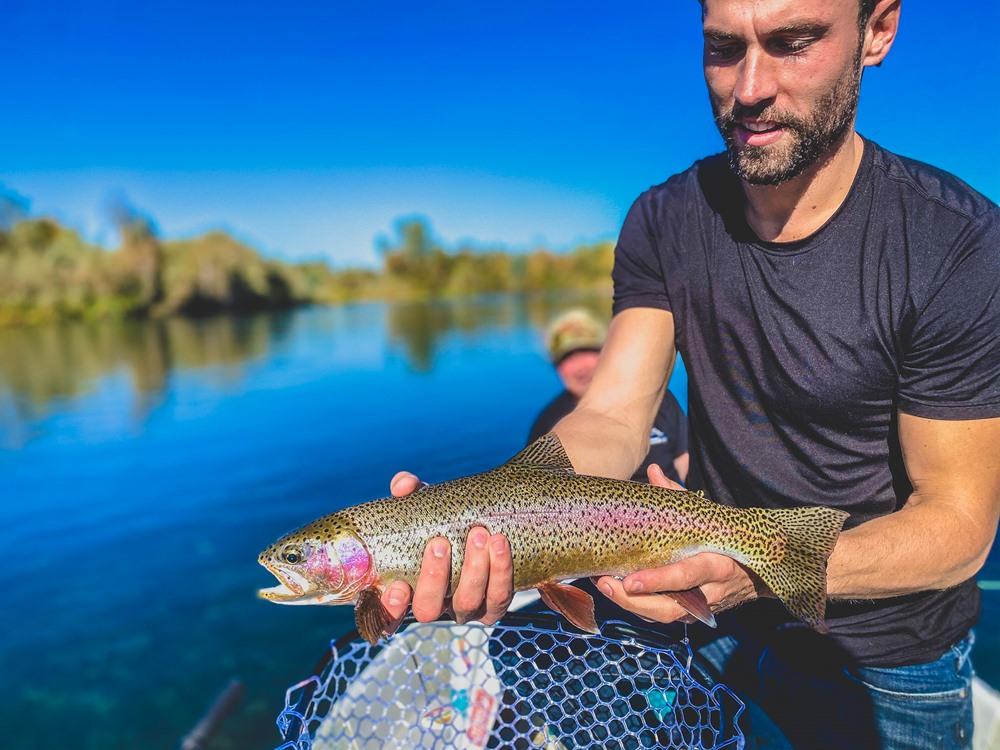 Matt with a beautiful 19 inch trout... or steelhead...