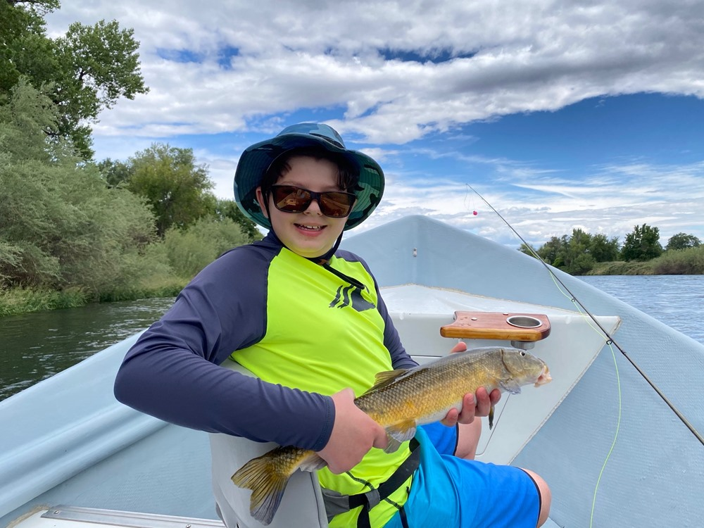 The kids in Andreas's boat put the wood to suckers today