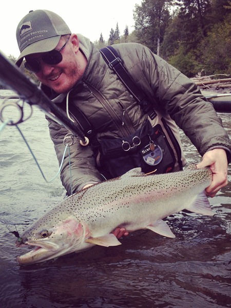 Darcy Bacha with a superb dry fly steelhead, he only fishes the dry fly.  epic