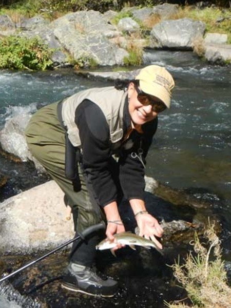 Lisa with a nice fish landed on her new tenkara rod