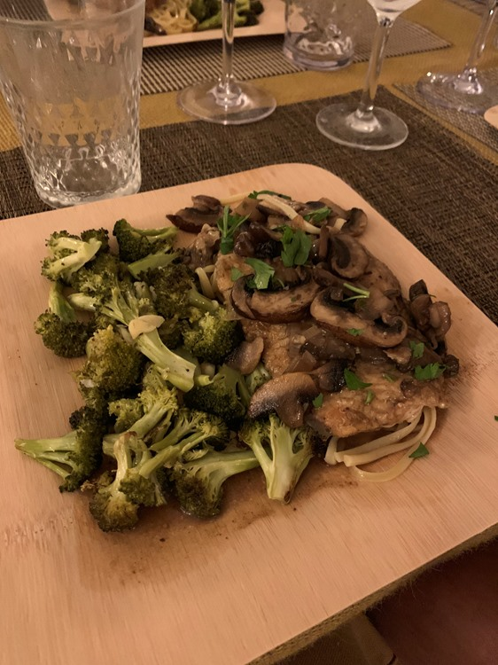 Chicken Marsala with roasted broccoli