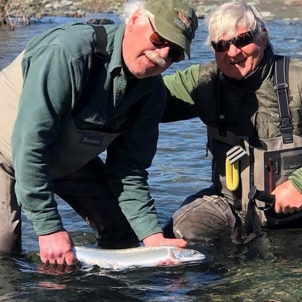 Bob and Roff with a dandy chrome steelhead
